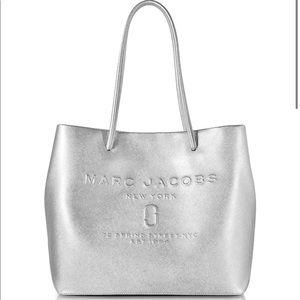 MarcJacobs Mini Metallic Leather Logo Shopper Tote